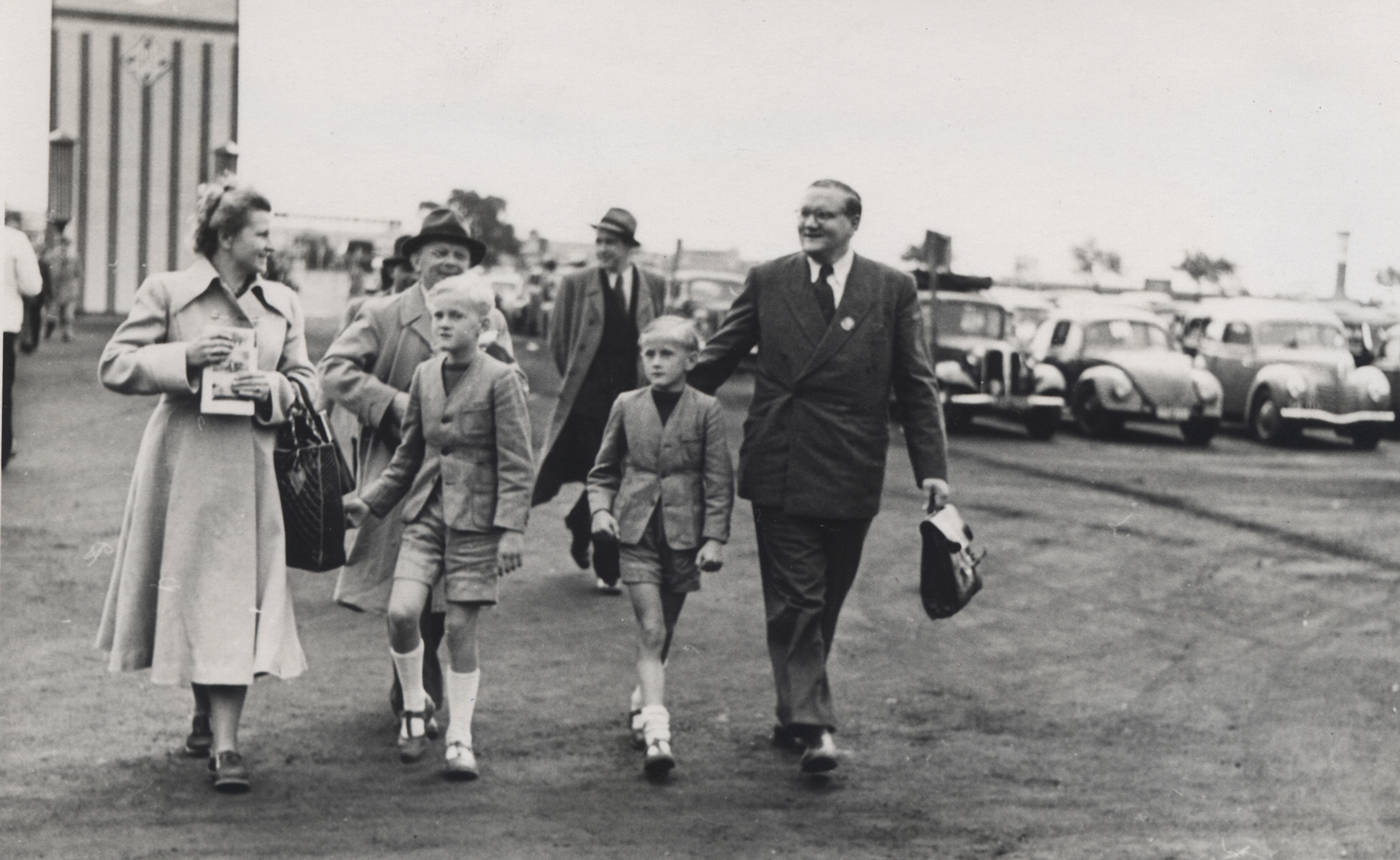 Familie Harting mit Söhnen Hannover Messe 1950