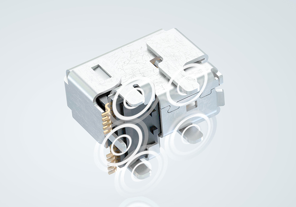 Robust receptacle with five THR shield contacts