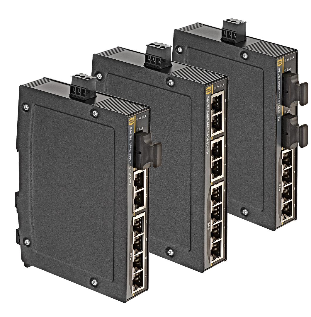 Ha Vis Econ 3000 Slim Design Harting Technology Group 4 Way Rj45 Switch Box Fast Ethernet Basic Poe