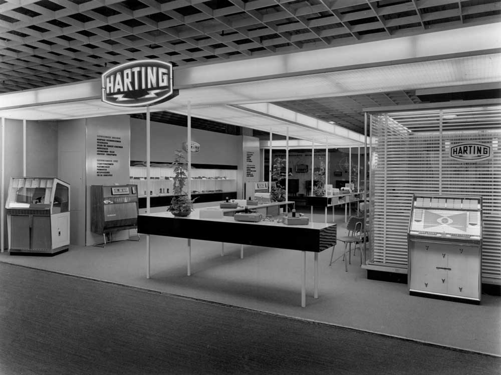 The Han® industrial connectors on the exhibition stand of HARTING 1962 at Hannover Messe
