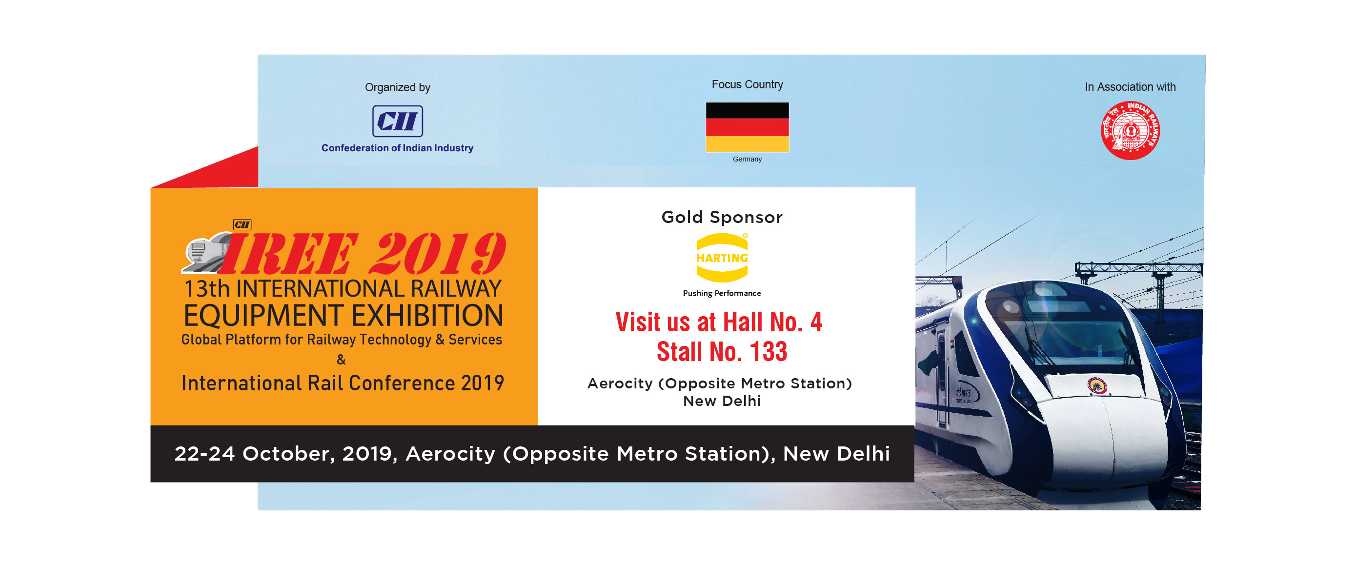 IREE 2019 HARTING India as Gold Sponsor 22 to 24 Oct 2019 Hall 4 Stall 133